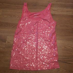 Pink sequin tank